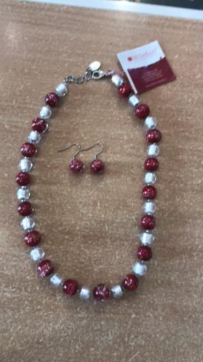 Set bijuterie - sticla Murano - cu margele  argintiu-visiniu
