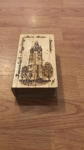 Cutie din lemn pirogravata Baia Mare - mare - tip 3