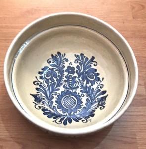 Bol-castron-strachina din ceramica traditionala - albastru-model 1