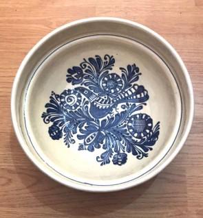 Bol-castron-strachina din ceramica traditionala - albastru-model 2