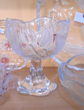 Platou sticla Walther-Glas - 14,5 cm, rotund cu talpa - lalele
