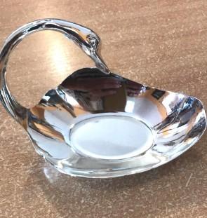 Platou din metal - lebada- culoarea argintie-model 2