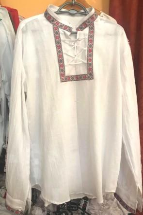 Ie camasa stilizata barbati din bumbac - alb cu panglica color - marime M -produs romanesc