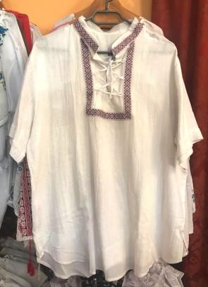 Ie camasa stilizata barbati din bumbac - alb cu panglica color - marime XXL -produs romanesc