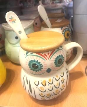 Cana pentru ceai  cu capac lemn - bufnita - model 2