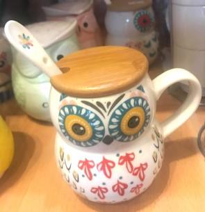 Cana pentru ceai  cu capac lemn - bufnita - model 3