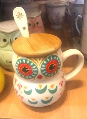 Cana pentru ceai  cu capac lemn - bufnita - model 1