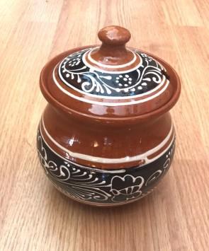 Cana miere din ceramica traditionala - maro cu negru- 11,5 cm