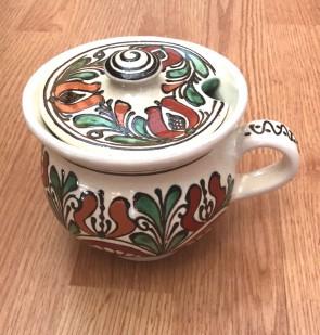 Cana miere din ceramica traditionala - rosu cu verde- 10,5 cm