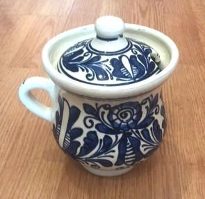 Cana miere din ceramica traditionala - albastru-