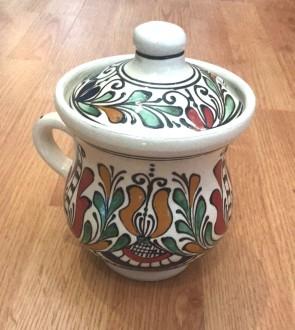 Cana miere din ceramica traditionala - rosu cu verde