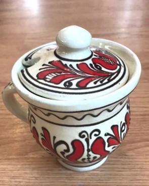 Cana miere din ceramica traditionala - rosu cu negru