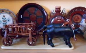 Car cu boi din lemn artizanat - macheta