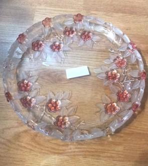 Platou sticla Walther-Glas - 31cm, rotund - flori roz