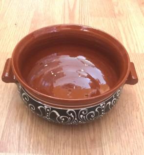 Bol-castron-strachina din ceramica traditionala - maro cu negru- 15 cm -model 2