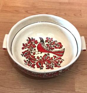 Bol-castron-strachina din ceramica traditionala - rosu cu negru