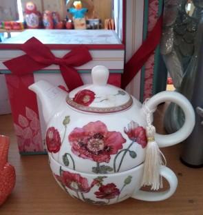 Set ceainic cu ceasca  portelan -1persoana,maci