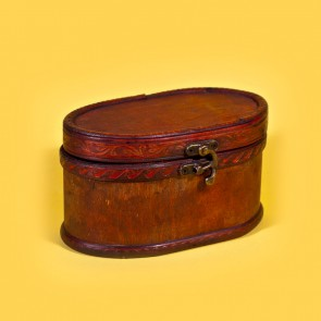 Cutie bijuterii din lemn - oval, mic