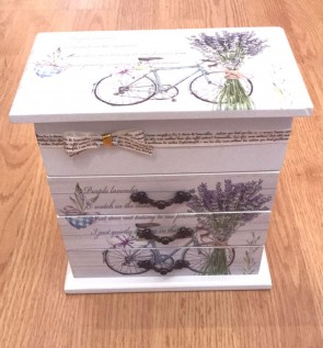 Cutie bijuterii din lemn - alba-cu trei sertare -model bicicleta lavanda
