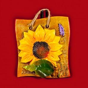 Placheta ceramica lucrata manual - Floarea soarelui - 14x14 cm