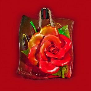 Placheta ceramica lucrata manual - Trandafiri - 14x14 cm