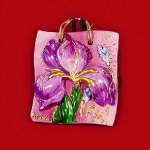 Placheta ceramica lucrata manual - Iris - 14x14 cm