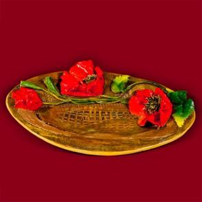 Platou ceramica lucrat manual - oval- Mac - 37 cm