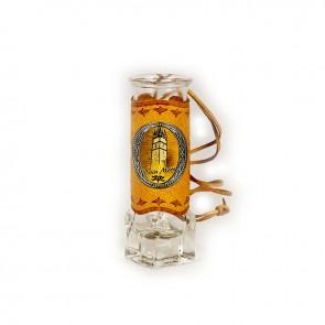 Pahar tuica din sticla halbuta 11 cm - piele cu eticheta metal -Baia Mare