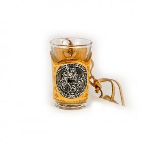 Set 6 pahare tuica din sticla7 cm - piele cu eticheta metal -Dracula