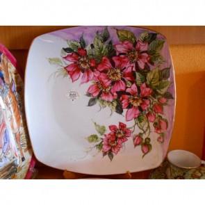 Platou portelan pictat manual - Flori de maces - 30cm
