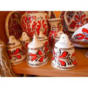Clopotel ceramica -  traditionala - rosu