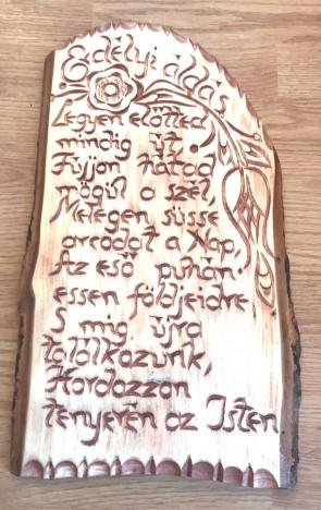 Placheta lemn sculptata cu Binecuvantare - Erdelyi Aldas - limba maghiara