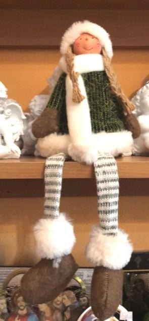 Fetita cu picioare atarnate- decoratiune craciun- verde - 34 cm