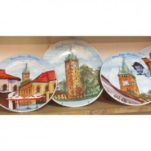 Platou portelan cu imagine Baia Mare - Turnul lui Stefan-  model 3- pictura manuala - 30 cm