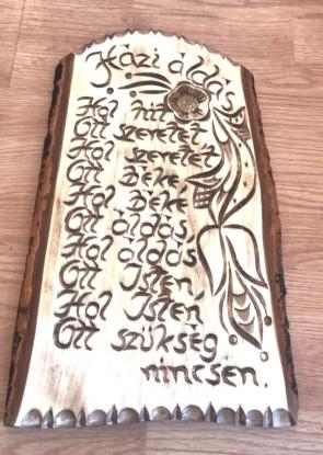 Placheta lemn sculptata cu Binecuvantarea Casei - Hazi Aldas - limba maghiara