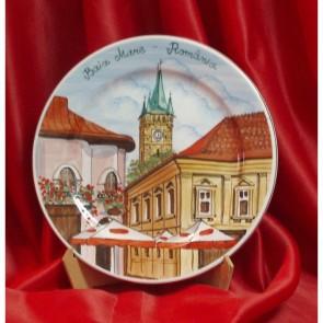 Platou portelan cu imagine Baia Mare - Turnul lui Stefan-  model 2 - pictura manuala - 24 cm