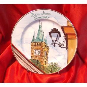 Platou portelan cu imagine Baia Mare - Turnul lui Stefan - pictura manuala - 20 cm