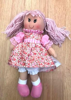 Jucarie - papusa din carpa - cu rochita cu flori roz