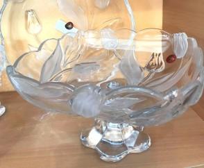 Platou sticla Walther-Glas - 26 cm, patrat cu talpa - lalele