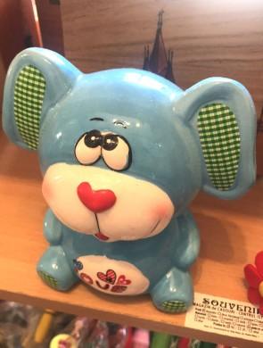 Jucarie - pusculita din ceramica -catel albastru