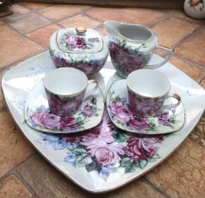 Serviciu cafea cu pictura manuala - 2 persoane - trandafiri