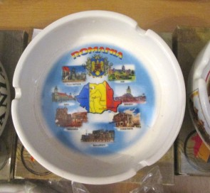 Scrumiera ceramica suvenir -Harta Romaniei-10cm