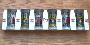 Set 6 pahare tuica din sticla -peisaj - pereche in port popular- stema