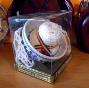 Set artizanat -bol ceramica traditionala-stergar-clop-in cutie