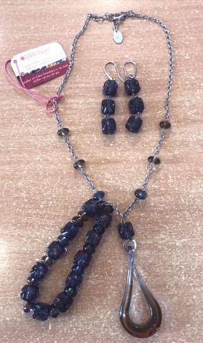 Set bijuterie - sticla Murano - cu margele mari  - mov inchis