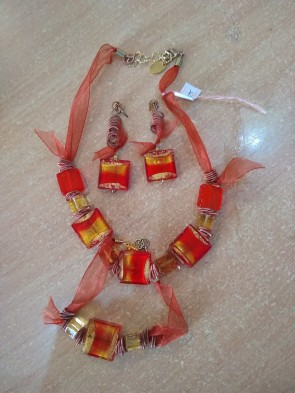 Set bijuterie - sticla Murano - cu margele mari  - rosu