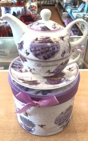 Set ceainic cu ceasca si farfurie portelan -1persoana, lavanda - model 1