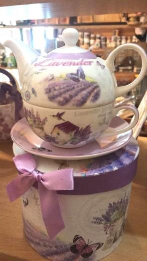Set ceainic cu ceasca si farfurie portelan -1persoana, lavanda - model 2