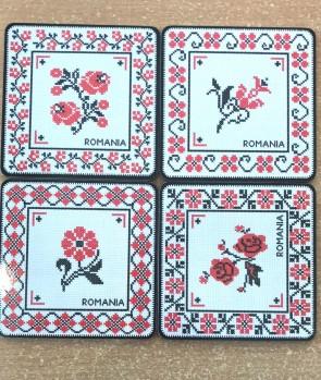 Set 4 suporturi de pahare -cusaturi traditionale romanesti
