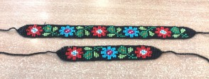 Set zgarda si bratara traditionala - cu flori albastru si rosu